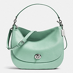 COACH F36762 - TURNLOCK HOBO IN PEBBLE LEATHER SILVER/SEAGLASS