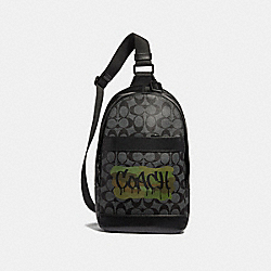 CHARLES PACK IN SIGNATURE CANVAS WITH GRAFFITI - f36813 - Charcoal/Black/matte black