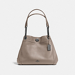 COACH TURNLOCK EDIE SHOULDER BAG IN POLISHED PEBBLE LEATHER - DARK GUNMETAL/FOG - F36855