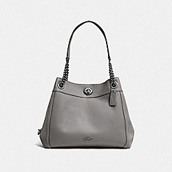 COACH F36855 Turnlock Edie Shoulder Bag DK/HEATHER GREY