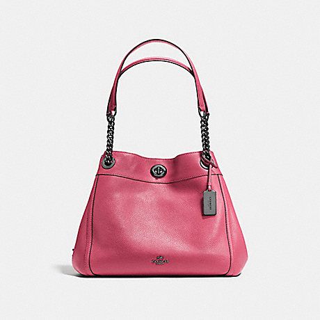 COACH F36855 TURNLOCK EDIE SHOULDER BAG ROUGE/DARK-GUNMETAL