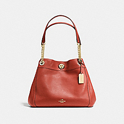 TURNLOCK EDIE SHOULDER BAG - f36855 - TERRACOTTA/LIGHT GOLD