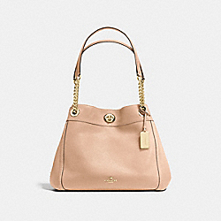 TURNLOCK EDIE SHOULDER BAG IN PEBBLE LEATHER - f36855 - LIGHT GOLD/BEECHWOOD