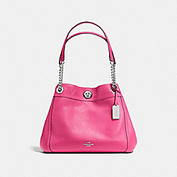 TURNLOCK EDIE SHOULDER BAG IN PEBBLE LEATHER - f36855 - SILVER/DAHLIA