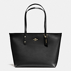 COACH F36875 City Zip Tote In Crossgrain Leather IMITATION GOLD/BLACK F37336