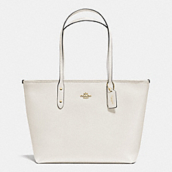 COACH F36875 City Zip Tote In Crossgrain Leather IMITATION GOLD/CHALK