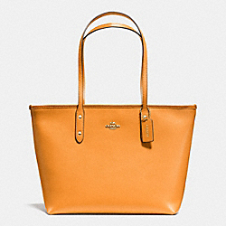 COACH F36875 City Zip Tote In Crossgrain Leather IMITATION GOLD/ORANGE PEEL