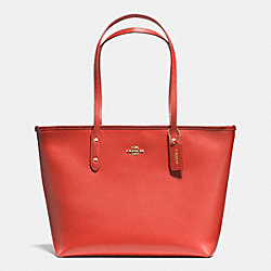 COACH F36875 City Zip Tote In Crossgrain Leather IMITATION GOLD/CARMINE