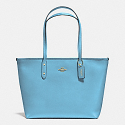 COACH F36875 City Zip Tote In Crossgrain Leather IMITATION GOLD/BLUEJAY