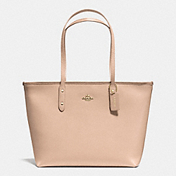 COACH F36875 City Zip Tote In Crossgrain Leather IMITATION GOLD/BEECHWOOD