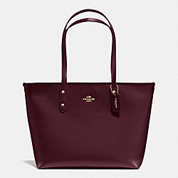 COACH F36875 City Zip Tote In Crossgrain Leather IMITATION GOLD/OXBLOOD