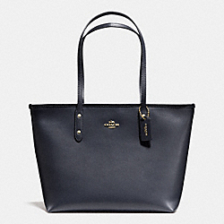 COACH F36875 City Zip Tote In Crossgrain Leather LIGHT GOLD/MIDNIGHT
