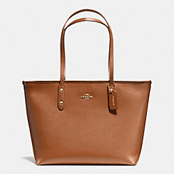 COACH F36875 City Zip Tote In Crossgrain Leather IMITATION GOLD/SADDLE