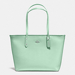 COACH F36875 City Zip Tote In Crossgrain Leather SILVER/SEAGLASS