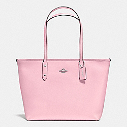 COACH F36875 City Zip Tote In Crossgrain Leather SILVER/PETAL