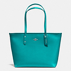 COACH F36875 City Zip Tote In Crossgrain Leather SILVER/TURQUOISE