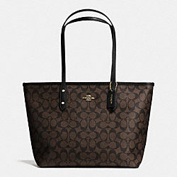 COACH F36876 - CITY ZIP TOTE IN SIGNATURE LIGHT GOLD/BROWN/BLACK