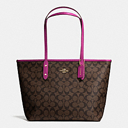 COACH F36876 City Zip Tote In Signature IMITATION GOLD/BROWN/FUCHSIA