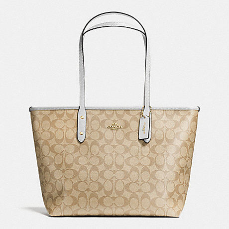 2e32b8a45153 COACH f36876 CITY ZIP TOTE IN SIGNATURE IMITATION GOLD LIGHT KHAKI CHALK