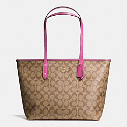 COACH F36876 - CITY ZIP TOTE IN SIGNATURE  IMITATION GOLD/KHAKI/DAHLIA