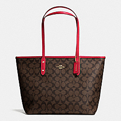 COACH F36876 City Zip Tote In Signature IMITATION GOLD/BROW TRUE RED