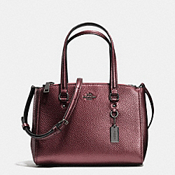 COACH F36877 - STANTON CARRYALL 26 IN METALLIC PEBBLE LEATHER BLACK ANTIQUE NICKEL/METALLIC CHERRY