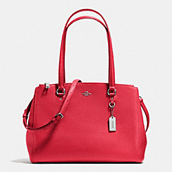 STANTON CARRYALL IN CROSSGRAIN LEATHER - f36878 - SILVER/TRUE RED