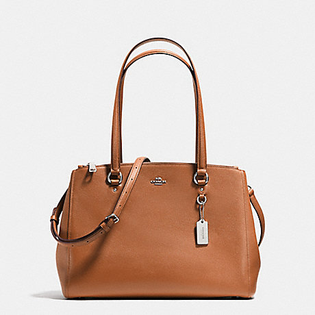 STANTON CARRYALL IN CROSSGRAIN LEATHER - COACH F36878 - SILVER/SADDLE
