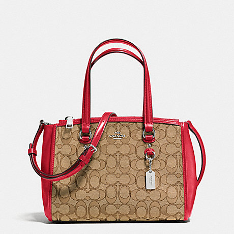 COACH F36905 STANTON CARRYALL 26 IN SIGNATURE SILVER/KHAKI/TRUE-RED