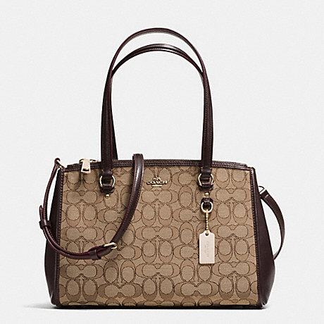 COACH f36906 STANTON CARRYALL 29 IN SIGNATURE JACQUARD KHAKI/BROWN/LIGHT GOLD