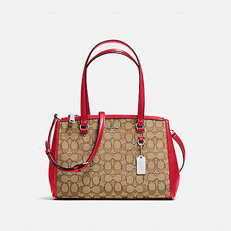 COACH f36906 STANTON CARRYALL 29 IN SIGNATURE JACQUARD KHAKI/TRUE RED/SILVER