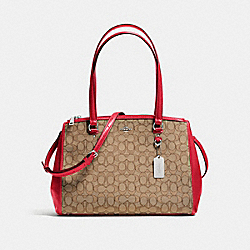 STANTON CARRYALL IN SIGNATURE JACQUARD - F36912 - KHAKI/TRUE RED/SILVER