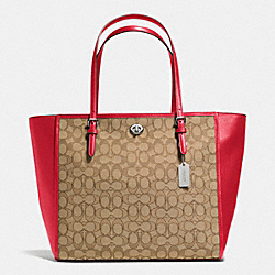 COACH F36932 Turnlock Tote In Signature SILVER/KHAKI/TRUE RED