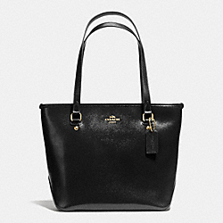 COACH F36962 Zip Top Tote In Patent Crossgrain Leather IMITATION GOLD/BLACK