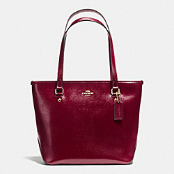 COACH F36962 - ZIP TOP TOTE IN PATENT CROSSGRAIN LEATHER IMITATION GOLD/SHERRY