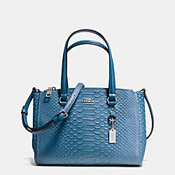 COACH F36982 - STANTON CARRYALL 26 IN SNAKE EMBOSSED LEATHER SILVER/PEACOCK