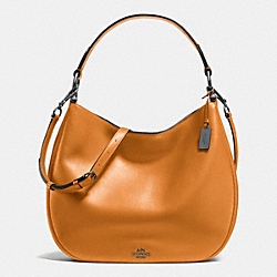 COACH F36997 - COACH NOMAD HOBO IN GLOVETANNED LEATHER BLACK ANTIQUE NICKEL/BUTTERSCOTCH