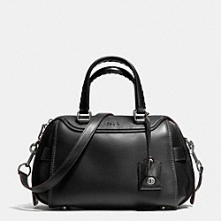 ACE SATCHEL IN GLOVETANNED LEATHER - f37017 - LIGHT ANTIQUE NICKEL/BLACK