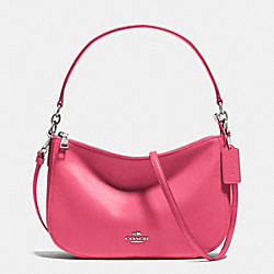 COACH F37018 Chelsea Crossbody In Smooth Calf Leather SILVER/DAHLIA