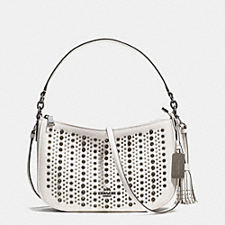 ALL OVER STUDS CHELSEA CROSSBODY IN PEBBLE LEATHER - f37036 - BLACK ANTIQUE NICKEL/CHALK