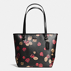 ZIP TOP TOTE IN BLACK FLORAL COATED CANVAS - f37055 - ANTIQUE NICKEL/BLACK