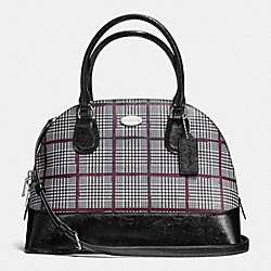 COACH F37056 - CORA DOMED SATCHEL IN GLEN PLAID COATED CANVAS SILVER/BLACK