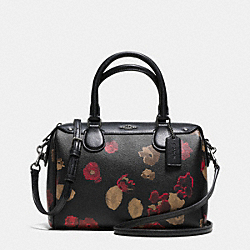 COACH F37060 - MINI BENNETT SATCHEL IN BLACK FLORAL COATED CANVAS ANTIQUE NICKEL/BLACK