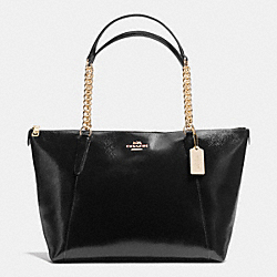 COACH F37078 Ava Chain Tote In Patent Crossgrain Leather IMITATION GOLD/BLACK