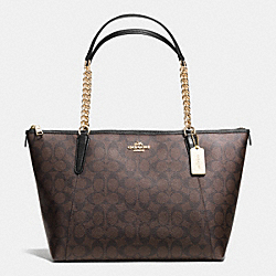 COACH F37079 Ava Chain Tote In Signature IMITATION GOLD/BROWN/BLACK