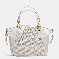 SMALL KELSEY SATCHEL IN GATHERED TWIST LEATHER - f37081 - IMITATION GOLD/CHALK