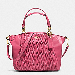 SMALL KELSEY SATCHEL IN GATHERED TWIST LEATHER - f37081 - IMITATION GOLD/DAHLIA