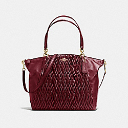 KELSEY SATCHEL IN TWISTED GATHERED LEATHER - f37082 - SILVER/BURGUNDY