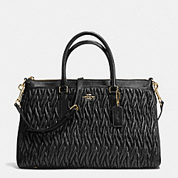 MORGAN SATCHEL IN PATCHWORK LEATHER - f37083 - IMITATION GOLD/BLACK