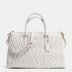 MORGAN SATCHEL IN GATHERED LEATHER - f37083 - IMITATION GOLD/CHALK